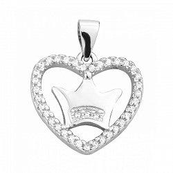 Серебряный кулон с сердцем, короной и фианитами 000129436