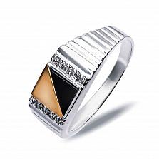 """Перстень печатка из серебра """"Марчелло"""" с золотом, обсидианом и фианитами"""