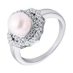 Серебряное кольцо с жемчугом и фианитами 000132567