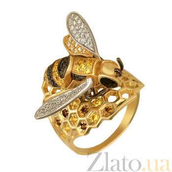 Золотое кольцо Пчелка с фианитами VLT--ТТ1072-1