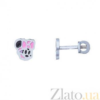 Серебряные серьги с цветной эмалью Микки Маус 000027005