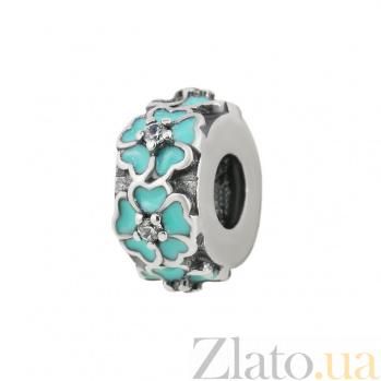 Серебряный шарм Венок из незабудок с цирконием и голубой эмалью 000081733