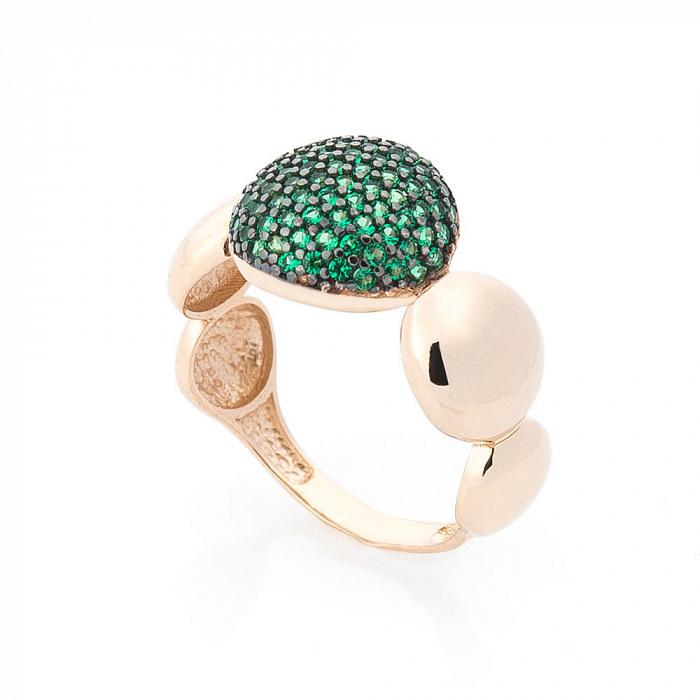 Золотое кольцо Октавия в красном цвете с изумрудными и черными фианитами 000082374