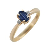 Золотое кольцо с сапфиром и бриллиантами Лора