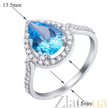 Золотое кольцо Виктория в белом цвете с голубым топазом и фианитами EDM--КД4030/1ТОПАЗ