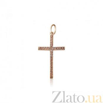 Крестик из красного золота Муза с фианитами EDM--КР089