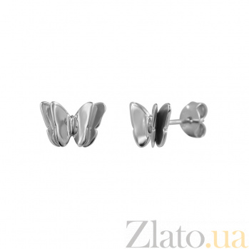 Серебряные серьги-пуссеты Бабочка 000029360