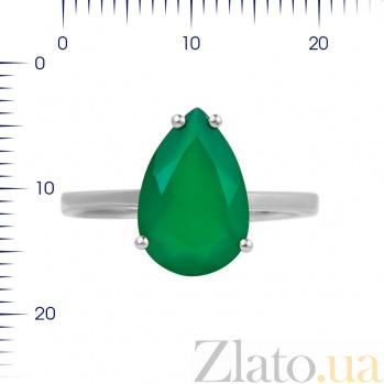 Серебряное кольцо Фанни с зеленым агатом 000081580
