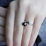 Золотое кольцо с жемчугом и цирконием Принцесса морей