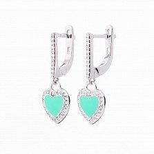 Серебряные серьги Сердечки с фианитами и зеленой эмалью