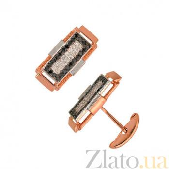 Запонки из красного золота с черными и белыми фианитами Джаз VLT--Е915