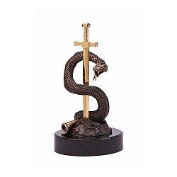 Бронзовая скульптура Вечная мудрость с позолотой на мраморной подставке 000051930