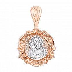 Золотая ладанка в комбинированном цвете Божья Матерь Владимирская 000134246