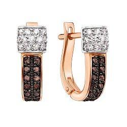 Серьги в комбинированном цвете золота с коньячными и белыми бриллиантами 000131451