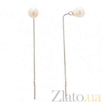 Серебряные серьги с жемчугом Ильсияр SLX--С2Ж/847