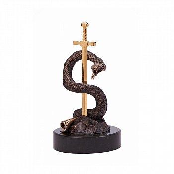Бронзова скульптура Вічна мудрість з позолотою на мармуровій підставці 000051930