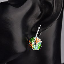 Серебряные серьги-подвески Фантазия с цветной эмалью в стиле Фрайвилле