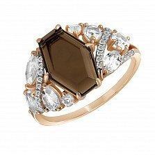 Кольцо из красного золота Мадрид с раухтопазом и бриллиантами