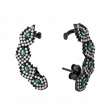 Серебряные серьги-каффы Аделис в черном цвете с зелеными и белыми фианитами