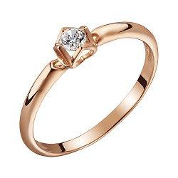 Золотое помолвочное кольцо в красном цвете с бриллиантом 0,1ct 000070565