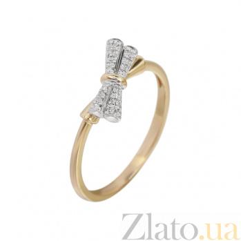 Кольцо из комбинированного золота с бриллиантами Сверкающий бант 000032287