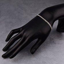 Серебряный браслет Стефани в плетении нонна, 3мм