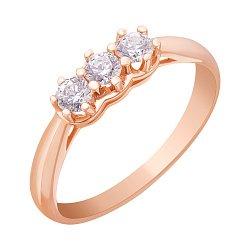 Золотое кольцо с белыми цирконием Swarovski 000010487