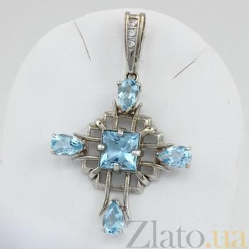 Крестик из белого золота Процветание с топазами и фианитами VLN--114-439-1*