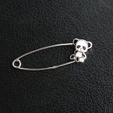 Серебряная булавка с эмалью Панда