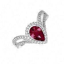 Серебряное кольцо Катарина с синтезированным рубином и фианитами