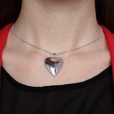 Серебряный подвес Ажурная половинка в форме сердца