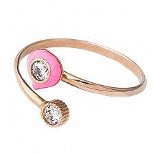 Золотое кольцо с фианитами и цветной эмалью Феличе