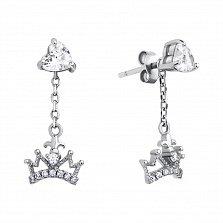Серебряные пуссеты-трансформеры Сердце королевы со съемными подвесками-коронами и белыми фианитами