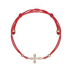 Браслет из красного золота с шелковой нитью 000147906