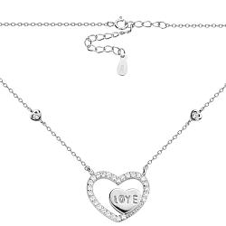 Серебряное колье Love-сердечки с кристаллами циркония