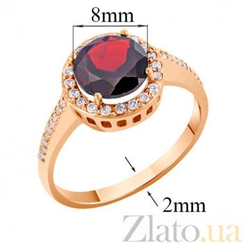 Кольцо в красном золоте Келли с гранатом и фианитами 000008391