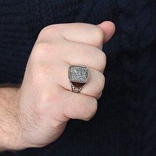 Серебряное кольцо-печатка Георгий Победоносец с золотой накладкой, эмалью и чернением