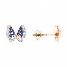 Золотые пуссеты Бабочки с сапфирами и бриллиантами