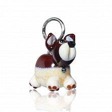 Серебряный подвес-шарм Веселый друг в форме собачки из муранского стекла