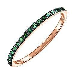 Кольцо из красного золота с зелеными фианитами и родированием 000138745