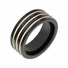 Кольцо из керамики со вставками желтого золота Риск