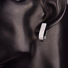 Серебряные серьги Ламина с дорожками белых фианитов