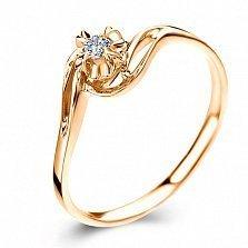 Золотое кольцо в красном цвете с бриллиантом Счастливая жизнь, 3,4мм