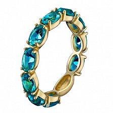 Золотое кольцо Альварра в евро цвете с лондон топазами
