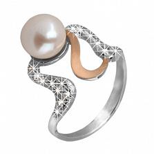 Серебряное кольцо с золотой вставкой и жемчугом Империя