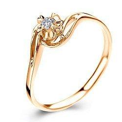 Кольцо из красного золота с бриллиантом 0,15ct 000034653