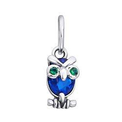 Серебряный кулон Строгая сова с синим и зелеными фианитами