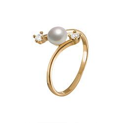 Золотое кольцо Эльвира с белой жемчужиной и фианитами