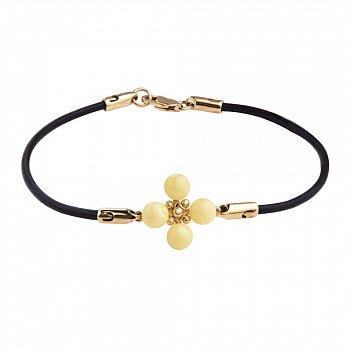 Кожаный браслет с янтарем, позолоченными серебряными вставкой и застежкой 000118933, 2мм