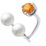 Серебряное кольцо с жемчугом и сердоликом Сезам